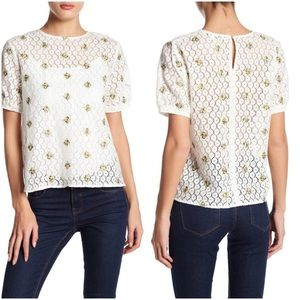 English Factory Embroidered Short Sleeve Top